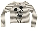 Mickey Mouse Cartoon Juniors Babydoll Long Sleeve Cropped T-Shirt Tee