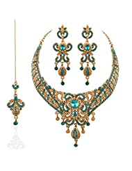 I Jewels Traditional Gold Plated Wedding Necklace Set With Maang Tikka For Women M4021Sb (Turquoise)