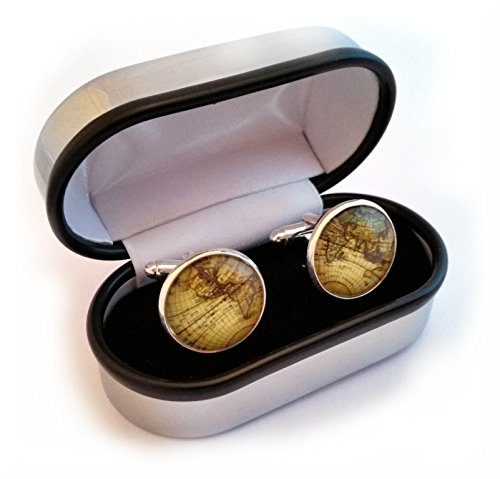 World/Earth Cufflinks and Cuff link presentation box by SilverFox
