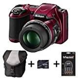 Nikon Coolpix L820 - Red + Case + 8GB Memory Card + Battery and Charger (16 MP, 30x Optical Zoom) 3 inch LCD
