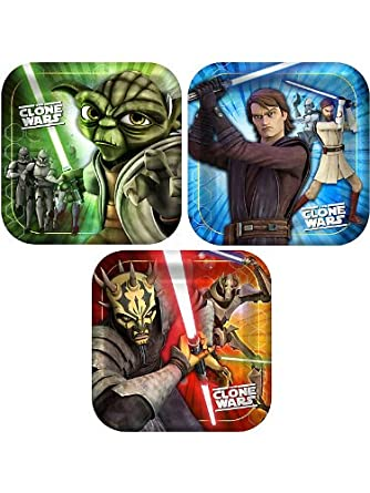 Hallmark Mens Star Wars: The Clone Wars Opposing Forces Square Dessert Plates