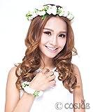 Cosjob (コスジョブ) 花冠 ヘッドドレス 腕輪 付き 2点セット商品 (A161) ( ホワイト )