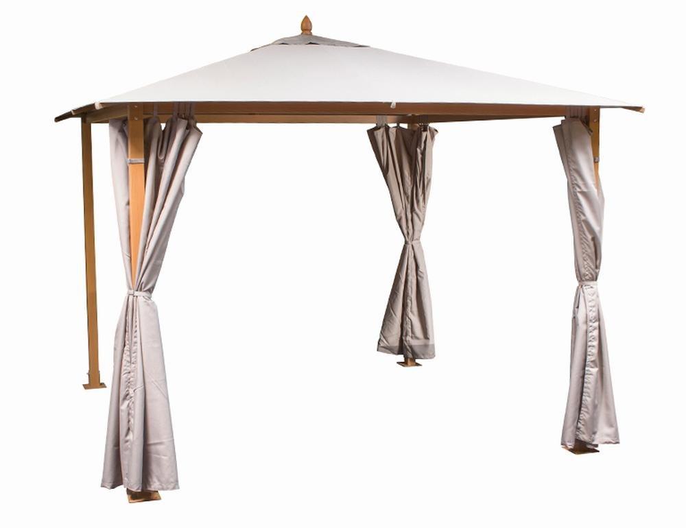 Siena Garden 120341 Pavillon Liguria, 3 x 3 m Aluminium-Gestell Holz-Optik Dach 310 g/m² taupe, PU-beschichtet Seitenteile Polyester 180 g/m², natur bestellen