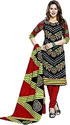 RR Fashion Women's Cotton Unstitched Dress Material (RRF2010_Black)