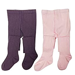 Wrapables Purple and Pink Cotton Diamond Weave Knit Tights for Girls (Set of 2), 4-5 Years