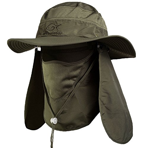 DdyoutdoorTM 07-281 Fashion Summer Outdoor Sun Protection Fishing Cap Neck Face Flap Hat Wide Brim (army green)