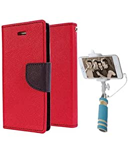 Aart Fancy Diary Card Wallet Flip Case Back Cover For Samsung E7 -(Red) + Mini Aux Wired Fashionable Selfie Stick Compatible for all Mobiles Phones By Aart Store