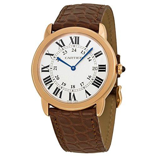 Cartier Unisex Ronde Solo De Cartier 36mm Brown Leather Band Rose Gold Plated Case Quartz Watch W6701008