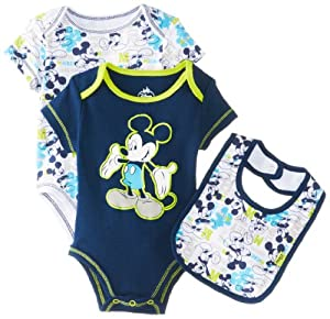 Disney Baby Baby-Boys born Mickey 2 Pack Creeper Bib Layette- Blue from Disney Baby