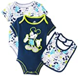 Disney Baby Baby-Boys Newborn Mickey 2 Pack Creeper Bib Layette- Blue