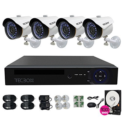 TECBOX 4 Channel 720P AHD Home Security Camera System DVR Recorder With 4 HD 1.3MP Waterproof Night Vision Indoor Outdoor CCTV Surveillance Camera 500GB Hard Drive Preinstalled (Wi Fi Dvr Security System compare prices)
