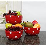 Set of 3 POLKA DOTS Red Ceramic Mixing Bowls, 82169MIX By ACK