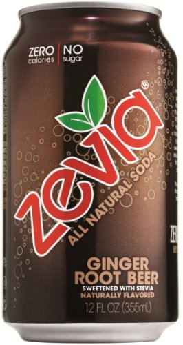 Zevia Natural Diet Soda, Ginger Root Beer, 12-Ounce Cans (Pack of 24)