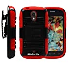MINITURTLE, High Impact Rugged Hybrid Dual Layer Protective Phone Armor Case Cover with Built in Kickstand, Swiveling Holster Belt Clip, and Clear Screen Protector Film for Android Smartphone Samsung Galaxy Light T399 /T Mobile (Black / Red)