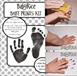 BabyRice Baby Hand and Footprint Inkless Wipe Prints Kit (Black)