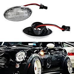 See iJDMTOY (2) OEM Replace Clear Lens Side Marker Lamps w/ Amber LED Lights For MINI Cooper MKI R50 R52 R53 Details