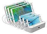USB充電スタンド USB充電ステーション USB急速充電器 6ポート iPhone iPod iPad Androidスマホ・タブレット対応可能 コンパクトサイズ (ホワイト)