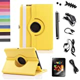 Pandamimi ULAK Bundle of 9PCS for Kindle Fire HD 7″ Tablet Yellow 360 Rotating Stand PU Leather Case Cover With Stand + Screen Protector/Headphone/USB Cable/Car Charger/Stylus/Earphone splitter cable (1 in 2 out)/Fishbone Shape Earphone Cord Winder Newest 11 in 1