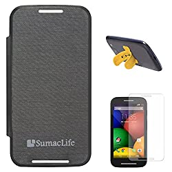 SumacLife PU Leather Flip Cover Case for Motorola Moto E (Black) + Touch U Silicone Stand + Matte Screen