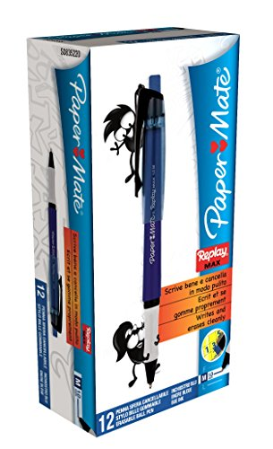 paper-mate-s0835220-boligrafo-borrable-color-azul-paquete-de-12-unidades