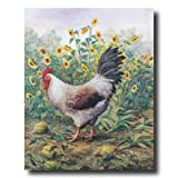 Rooster Chicken Sunflower Animal Picture Art Print