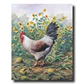 Chicken Rooster And Sunflowers Country Home Decor Wall Picture 16x20 Art Print