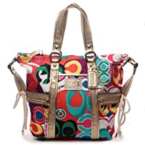 Hot Sale 100% Authentic Coach Daisy Poppy C Print Pocket Tote Convertible Shoulder Messenger Crossbody Bag