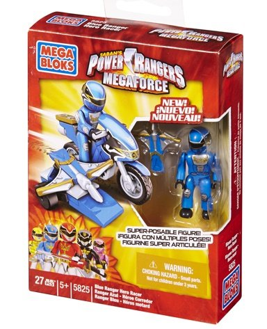 Power Rangers Megaforce Mega Bloks Set #5825 Blue Ranger Hero Racer