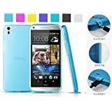 HTC desire 816 (Sky blue) case + HD Screen Protector AnoKe@ (Inbuilt Dust Plug for Earphone Jack and Charging Port) Slim Fit Semitransparent TPU Frosted Soft Phone Cover Case (Koppu Sky blue)