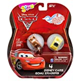 Mater, Luigi + 2 Mysteries (4 Mini-Erasers) - Pixar Cars 2 Gomu Collectible Erasers Series #1