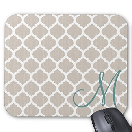 WildFree-Elegant-Tan-Trellis-Pattern-Teal-Monogram-9x7-Standard-Mouse-Pad