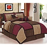 Legacy Decor 7 Piece Brown & Burgundy Micro Suede Patchwork Comforter Bed-in-a-bag Set Washable Queen Size