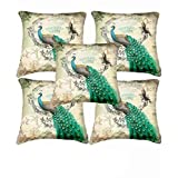 Xarans Print Peacock Cushion Covers -Set Of 5 (12x12 Inches)
