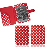 for AMAZON KINDLE 4 (THE 6 INCH £69 MODEL) LEATHER CASE COVER WALLET POLKA DOT RED BY TEEPEE ONLINE®