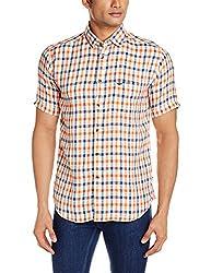 Park Avenue Men's Casual Shirt (8907117074516_PCSB00743-E5_46_Medium Orange)
