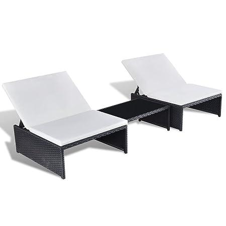 vidaXL Poly Rattan Sonnenliege 2-er Liege Lounge Gartenmöbel Tisch verstellbare Lehne