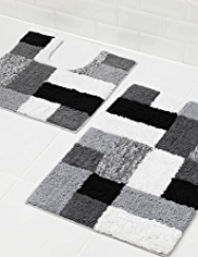 Modern Colour Block Cube Bath & Pedestal Mats
