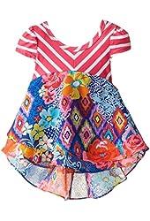 Youngland Baby Girls' Striped Knit To Print Chiffon Fashion Dress