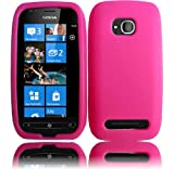 Hot Pink Silicone Jelly Skin Case Cover for Nokia Lumia 710