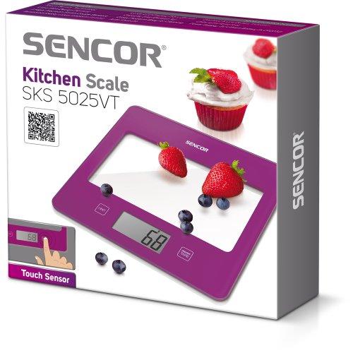 Sencor 41000756 SKS 5025VT Balance de Cuisine avec Surface en Verre Violette