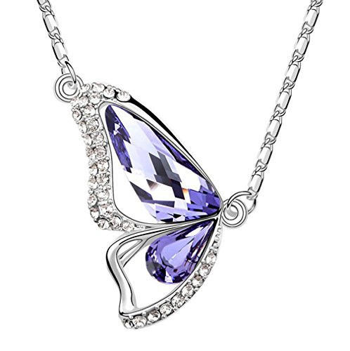 White Gold Plated Swarovski Elements Crystal Butterfly Of Liberty Pendant Necklace Fashion Jewelry For Women (Purple)