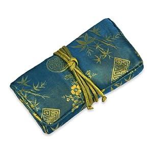 Jewelry Roll (Small) - Silk Jacquard (Moroccan Blue)