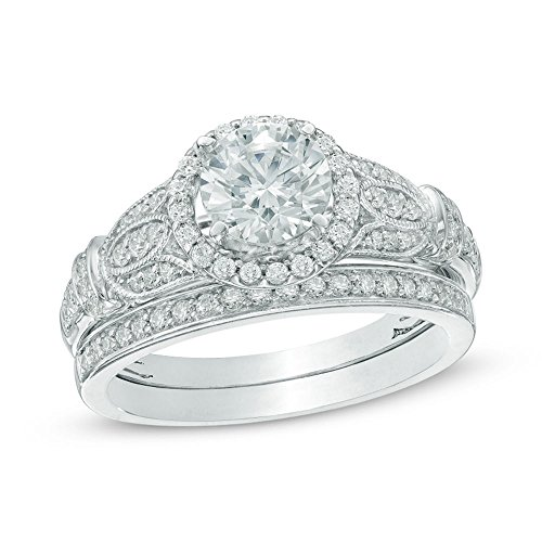 Newshe 1.7ct Round White Cz 925 Sterling Silver Engagement Wedding Ring Set Women's Size 7
