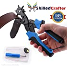 Skilled Crafter Leather Hole Punch - Professional Heavy Duty - Easily Punches Perfect Round Holes - Multi Sized Puncher Pliers - Ideal for Belts, Crafts, Card, Plastic, Felt, Rubber etc - Quality Assured