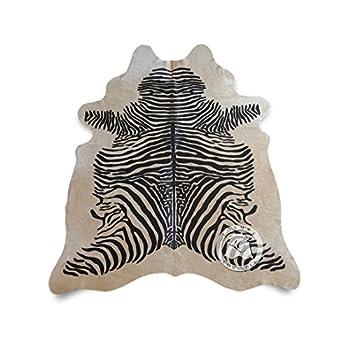 Zebra Cowhide Rug Animal Print Black Stripes On Beige - Top Quality