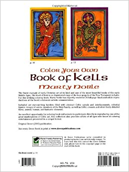 Color Your Own Book Of Kells Dover Art Coloring Book Marty Noble 9780486418650 Amazon