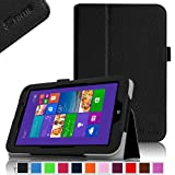 Fintie Toshiba Encore WT8 (Windows 8.1) Folio Case Cover - Premium Leather with Stylus Holder Only Fit for Toshiba Encore WT8 Windows 8.1 8-Inch Tablet - Black