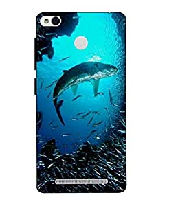 Snazzy Fish Printed Blue Hard Back Cover For Xiaomi Redmi 3S