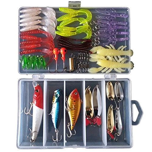 KMBEST Fishing Lures Mixed Lots including Hard Lure Minnow Popper Crankbaits VIB Topwater Diving Floating Lures Soft Plastics Worm Spoons Other Saltwater Freshwater Lures with Tackle Box (62pcs/box)