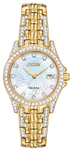 Citizen Silhouette Crystal Women's Quartz Watch with Mother of Pearl Dial Analogue Display and Silver Stainless Steel Gold Plated Bracelet EW1222-84D